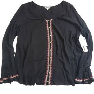 NWT Sonoma Long Sleeve Button Up Embellished Top L